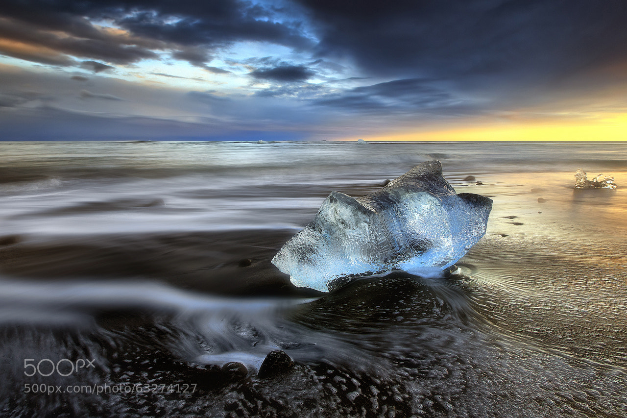 Lone Ice On Beach In Iceland