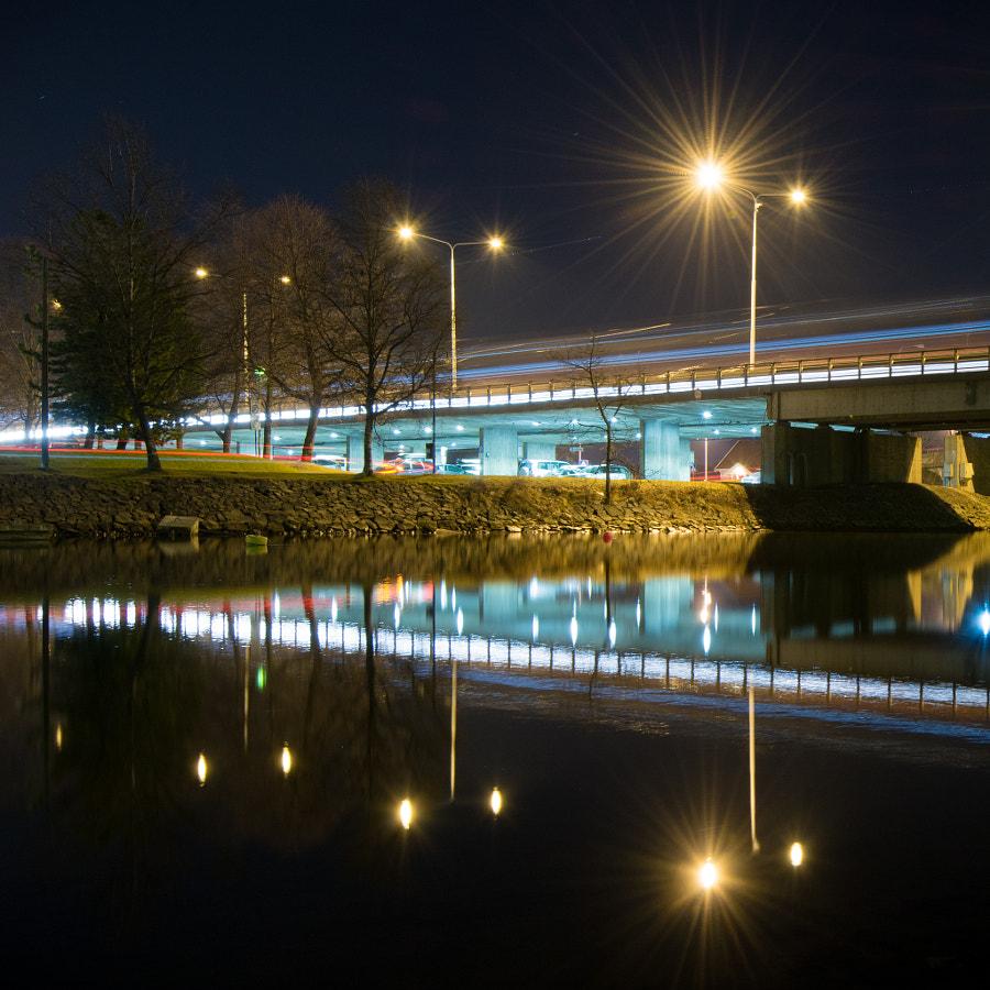 Cars under bridge