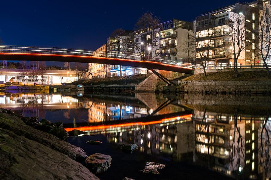 Bridges in Sandvika at night