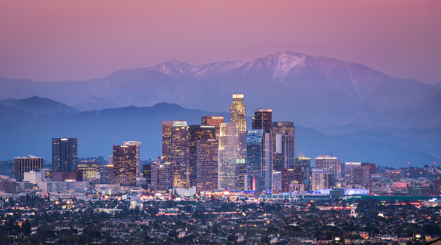 Downtown Los Angeles & Mount Baldy by Coty  Spence on 500px.com