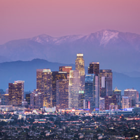 Downtown Los Angeles & Mount Baldy by Evgeniy Esipenko