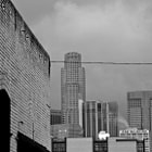 The One Wilshire Building stands out in this shot of Downtown, Los Angeles on a rainy day.