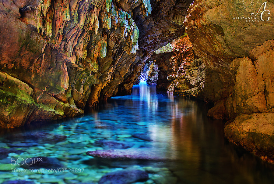 Exploring the submerged cave, which extends from the sea into the body of Dugi Otok island