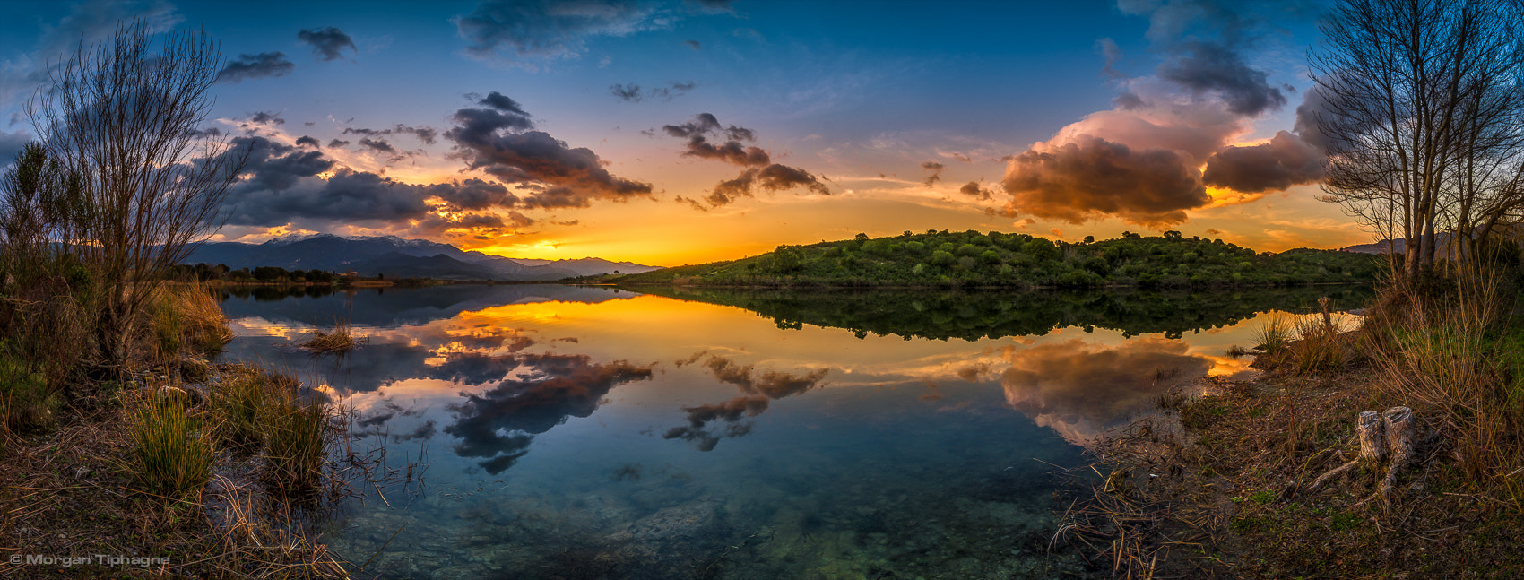Photograph Panorama sunset on the lake by Morgan Tiphagne on 500px