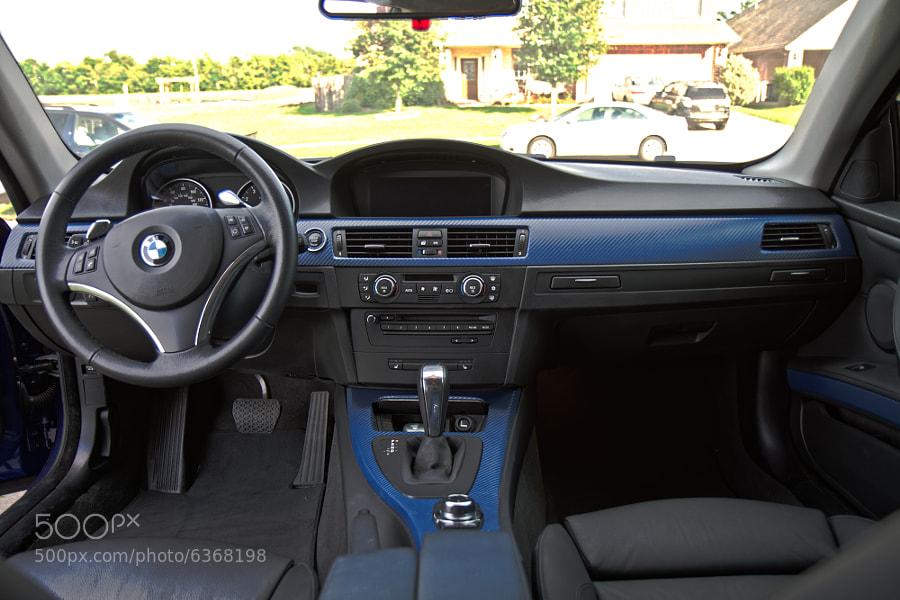 Blue carbon fiber trim Blue carbon fiber wrap interior