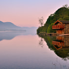 Duke of Portland boathouse. Ullswater, Lake District, Cumbria, England. In the early morning light.