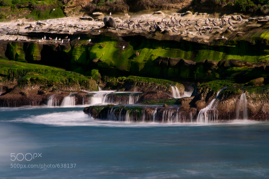 This was a daytime long exposure just after a wave crashed ashore. It was taken in La Jolla, California, part of San Diego.