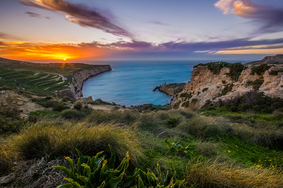 The Sun Sets Over Fomm Ir-Rih Bay by Michele Agius on 500px.com