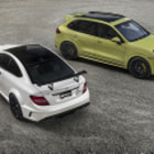 Постер, плакат: Mercedes Benz C63 AMG Black Series & Porsche Cayenne GTS Photoshoot