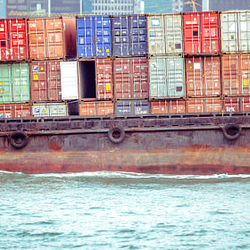 Container ship on Victoria Harbour, Hong Kong