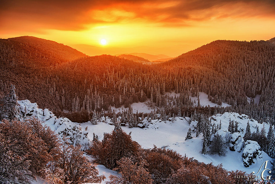 At sunrise the warmth from the east splashed the frozen forests of Velebit