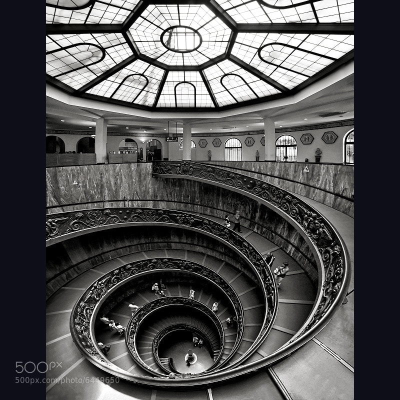 Photograph Vatican Museum Stairs Vertorama by Carlos Gotay on 500px