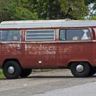 A rusted out VW Westfalia in Summerland, California.
