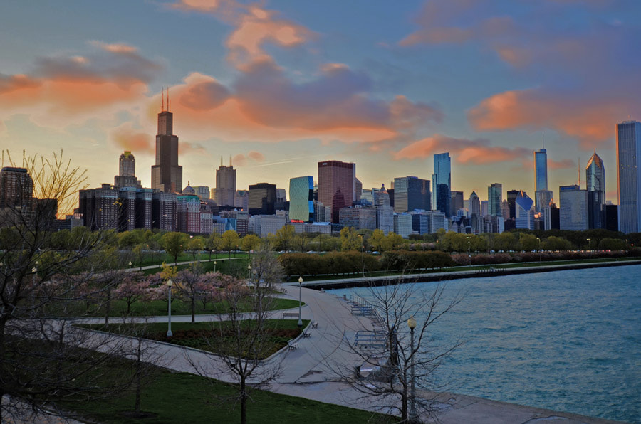Photograph A Chicago Skyline Sunset by Kyle Dyson on 500px