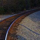 Railroad tracks that bend through Summerland, California.