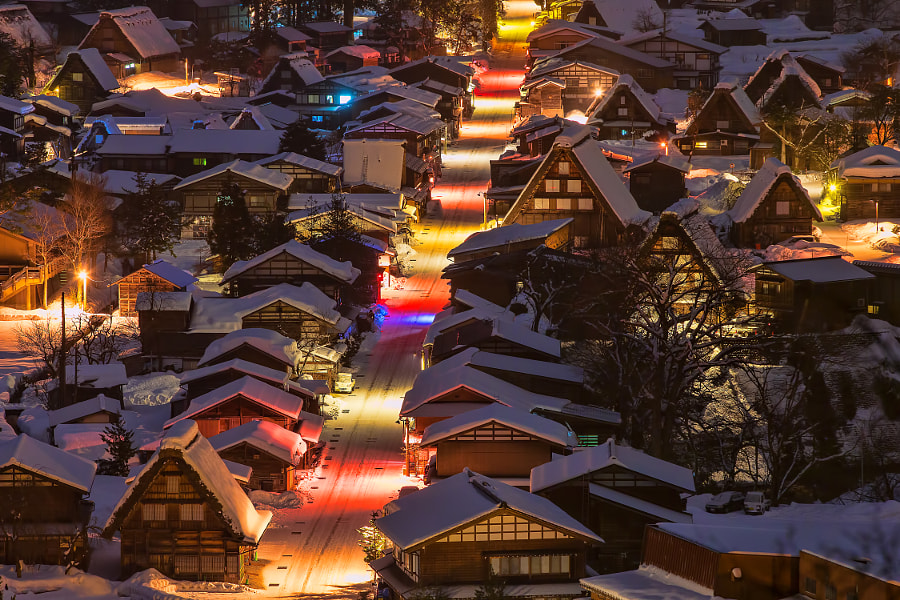 This street is in Shirakawa-go in late night. (taken at 1:28 AM) Colorful lights in street are by vending machines, street lamps, fireplugs and so on.