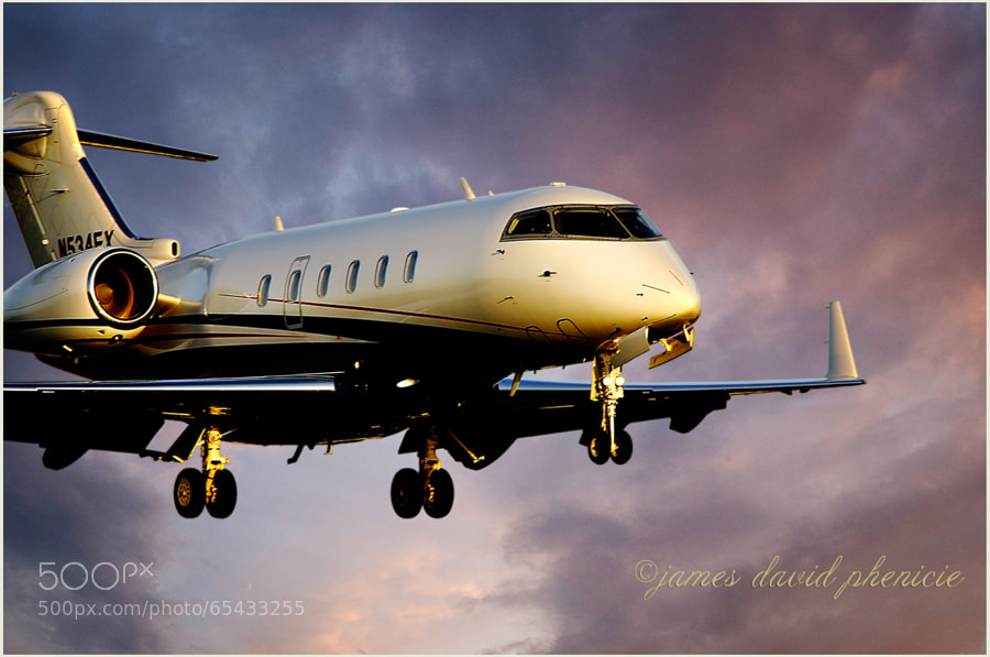 Bombardier BD100 on short final to runway.  Please do not use without permission or compensation.    ©James David Phenicie  All Rights Reserved.