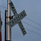 This railroad crossing was photographed in Summerland, California.