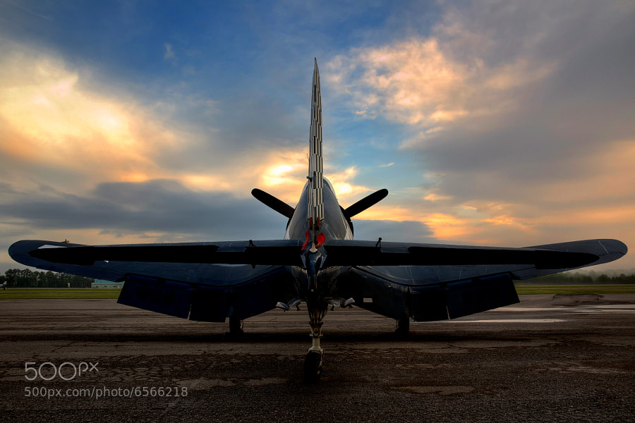 The sun rises on an F4U Corsair at the 2012 Tuscaloosa Airshow