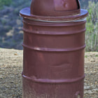 A metal trash can located in Tarzana, California.