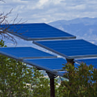 Solar panels at the top of the hills in Tarzana, California. These panels are located along hiking trails away from the suburban sprawl.