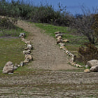 A rock path leading to one of the hiking trails in Tarzana, California.