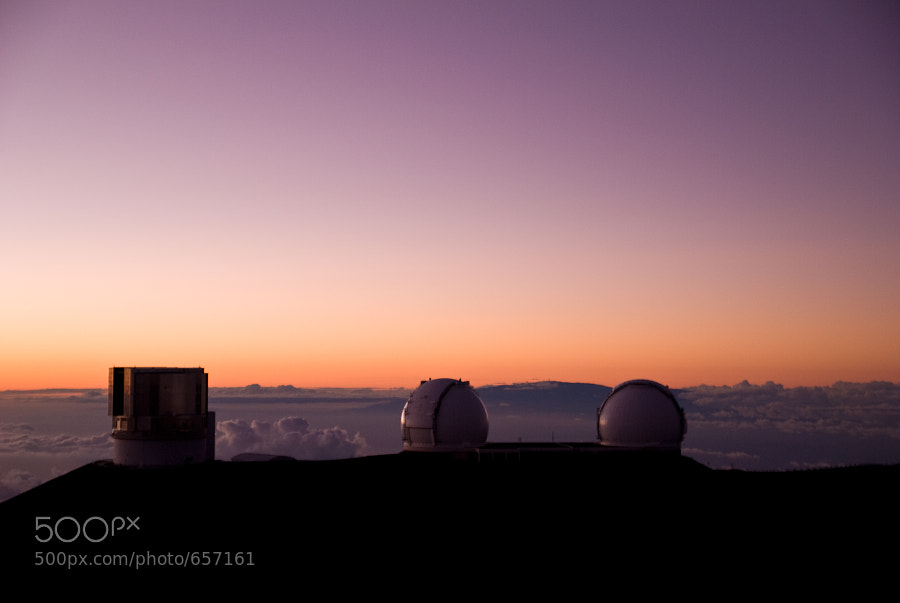 The observatories atop Mauna Kea, HI at Sunset