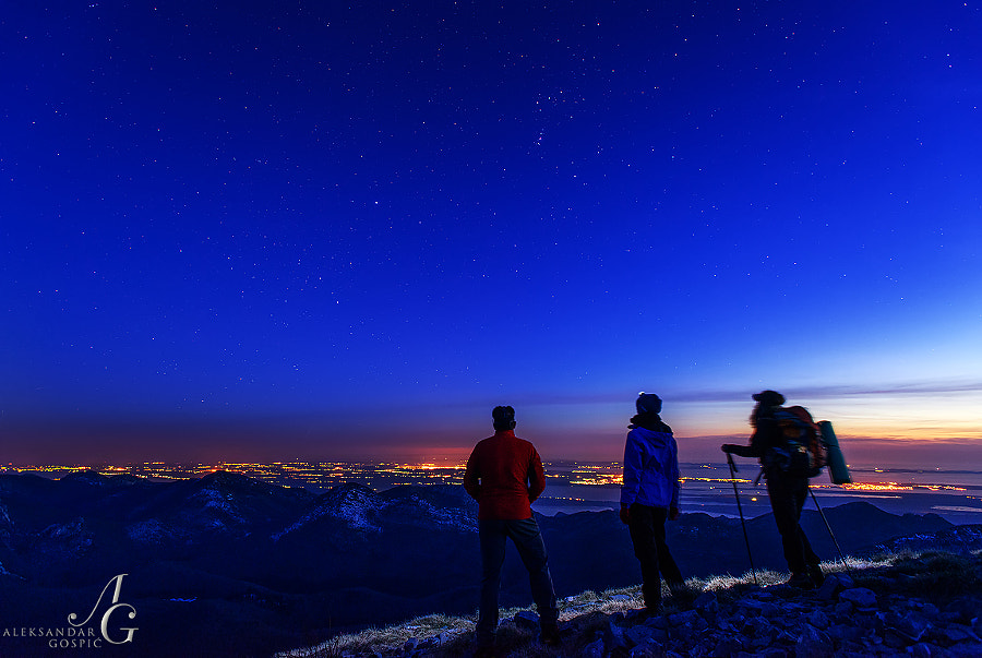 Witnessing a shift of day and night on Velebit, under the precious dots of Orion and Sirius