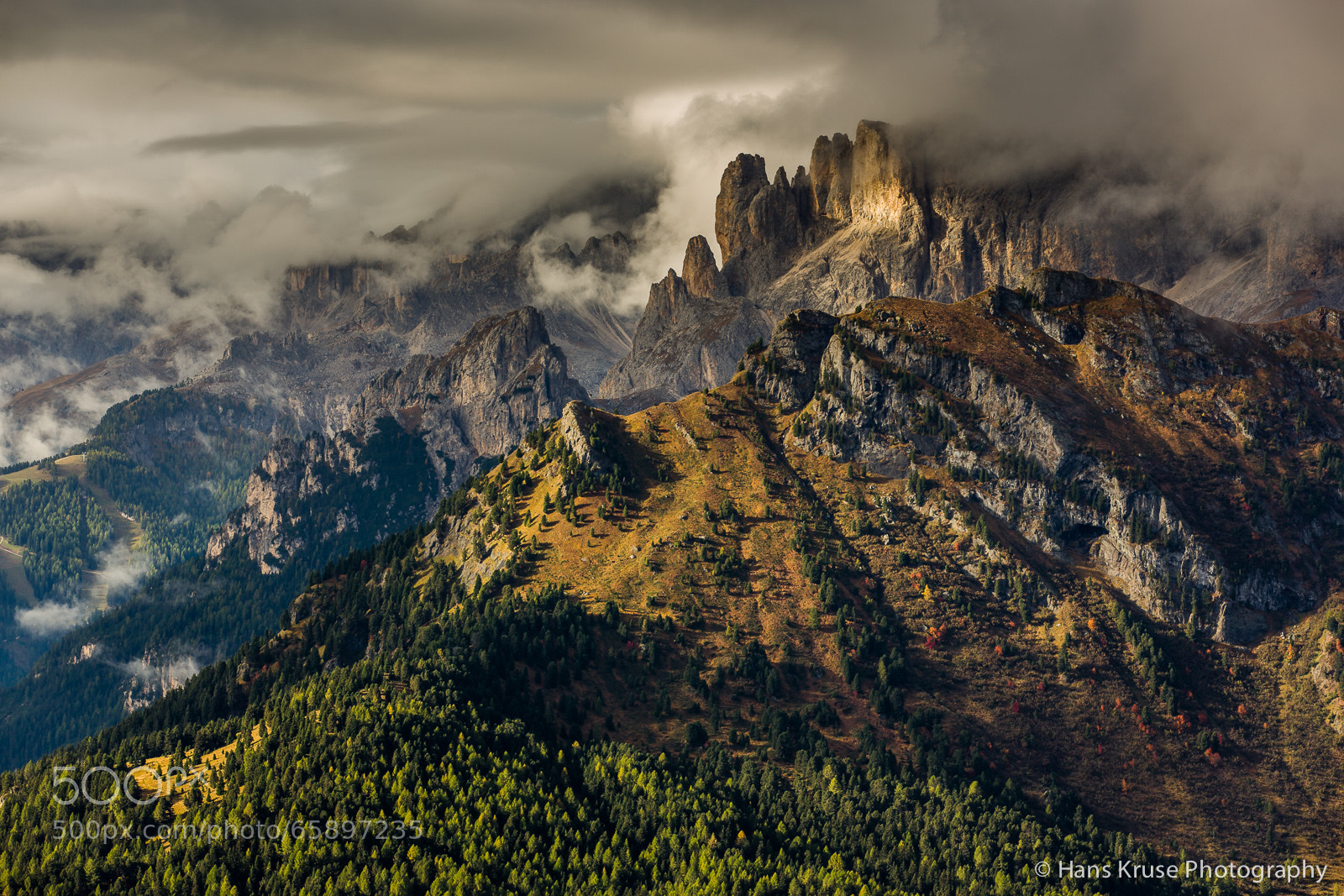 Dolomite Mountains In Morning Light By Hans Kruse