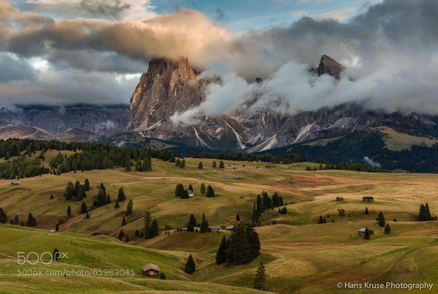 This photo was shot in Alpe di Siusi and the Sassolungo mountains in the background during the Dolomites West October 2013 photo workshop.