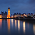 """This composition is a slightly different take on an earlier image I published, depicting Westminster Bridge, Elizabeth Tower and the Houses of Parliament in London.  This was the last night of our fleeting five-day visit in May of 2013, so I've appropriately titled it """"Last Night in London""""."""