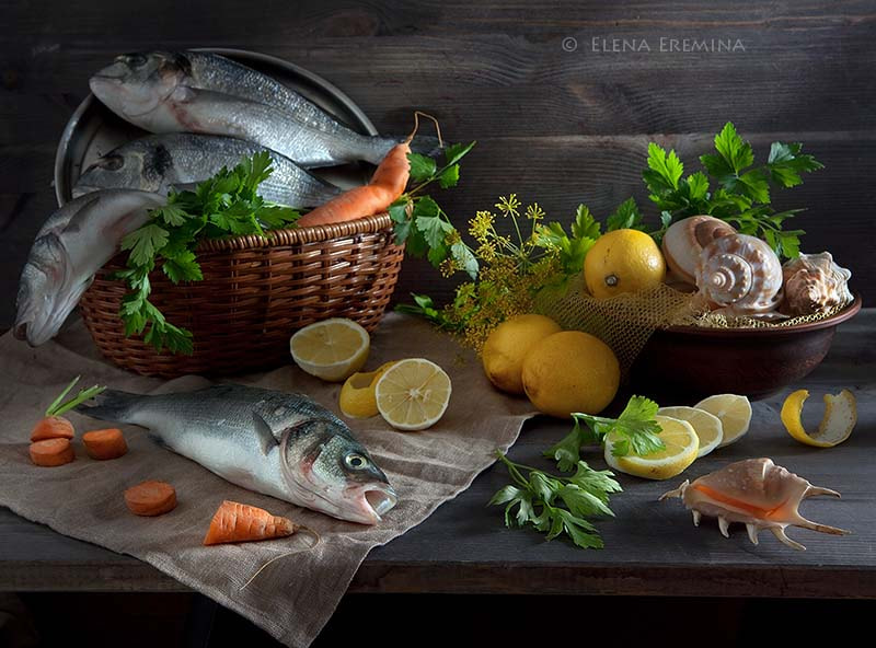 Photograph Still life with fish and a lemon by Elena Eremina on 500px