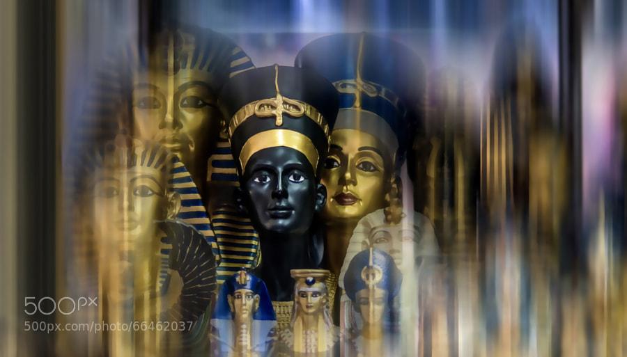 Pharaonic Statues on a shelf in Khan elkhalili market in old Cairo