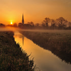 Salisbury Cathedral from Salisbury water meadows.