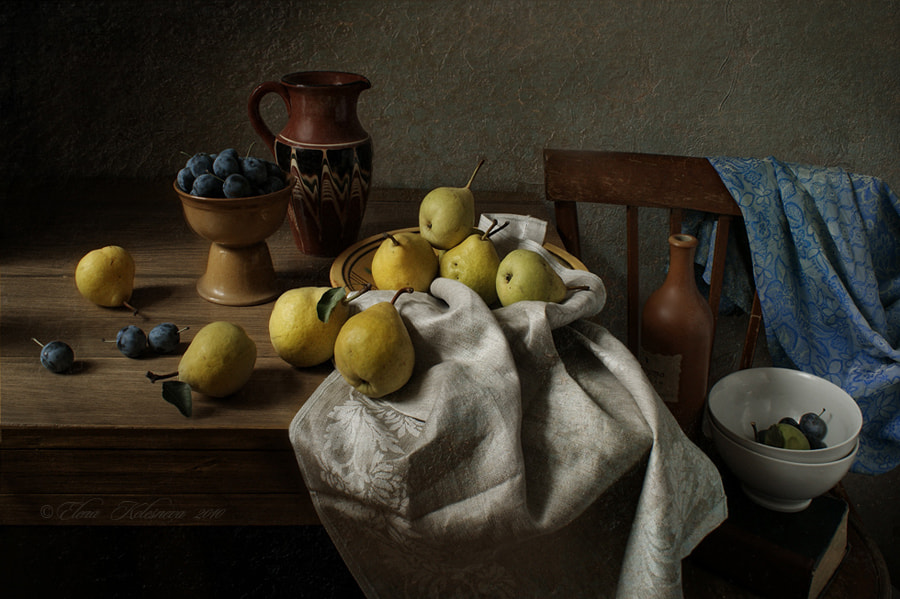 Photograph A clay jug and fruit. by Elena Kolesneva on 500px