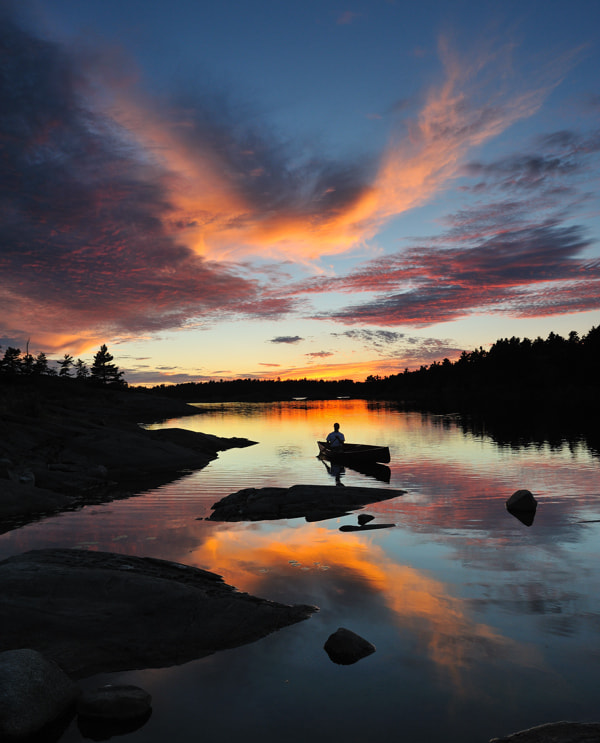 Photograph Solo Paddler, Moosehorn Bay by Peter Bowers on 500px