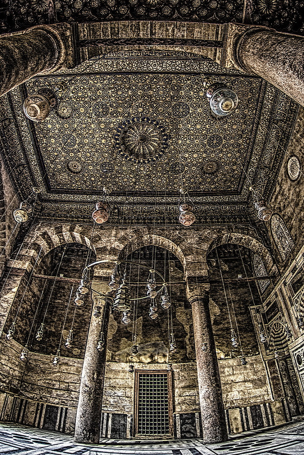 interior of the  mosque of elsultan barkouk in old cairo