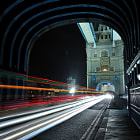 Light trails on Tower Bridge London.