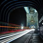 Light trails on Tower Bridge London.