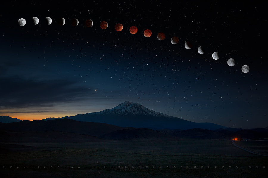 Photograph Lunar Eclipse Over Mt Shasta Revisited by Sean Bagshaw on 500px