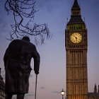 Постер, плакат: Winston Churchill and Big Ben at Dusk