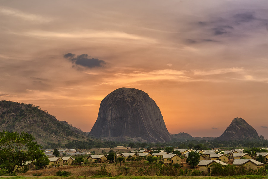 Hello Zuma Rock! World 2th largest rock is Nigeria's answer to Australia's Uluru rock. Sunset over Z by Nerijus Lostinhdr on 500px.com