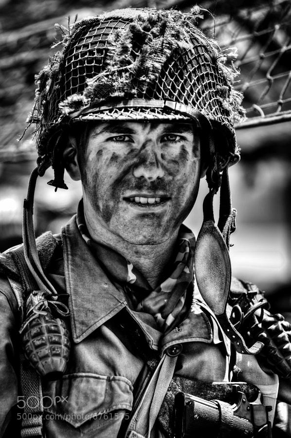 A very convincing WWII GI re-enactor at the 2012 WWII Heritage Days, Peachtree City, GA.  This event honors those who served during WWII