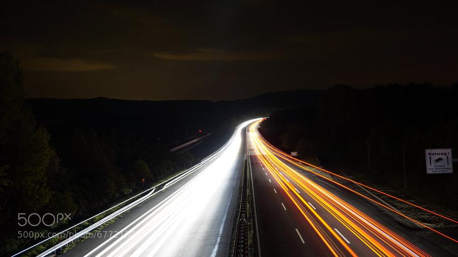 Photograph Autobahn Lichtspuren by JulesPlus on 500px