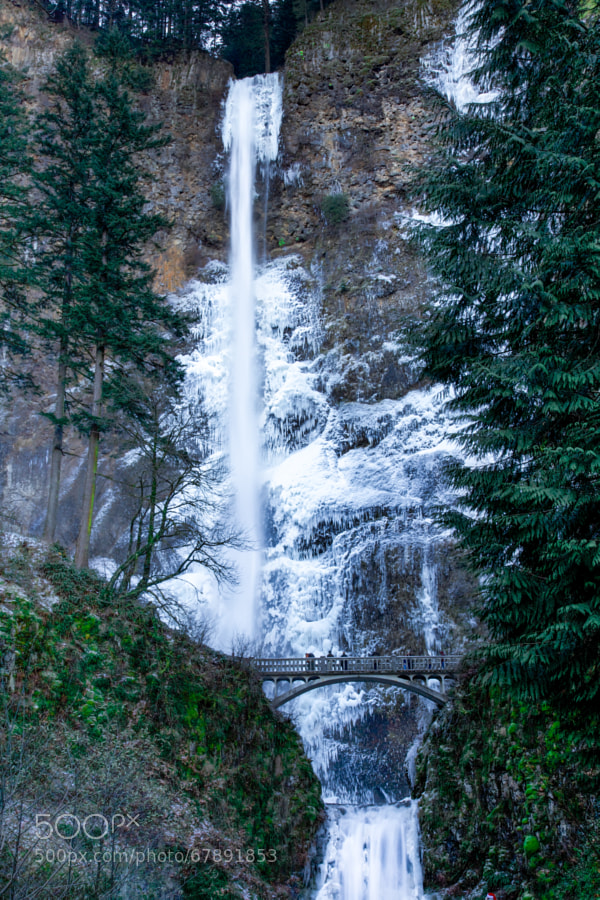 Multnomah Falls during a good sized ice storm.