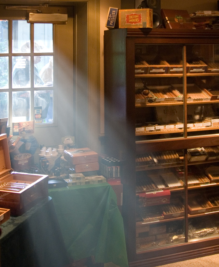 Light coming in at a local Cigar Shop