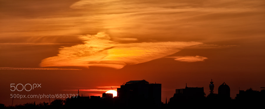 sunset over London. You can see the BT tower on the right side