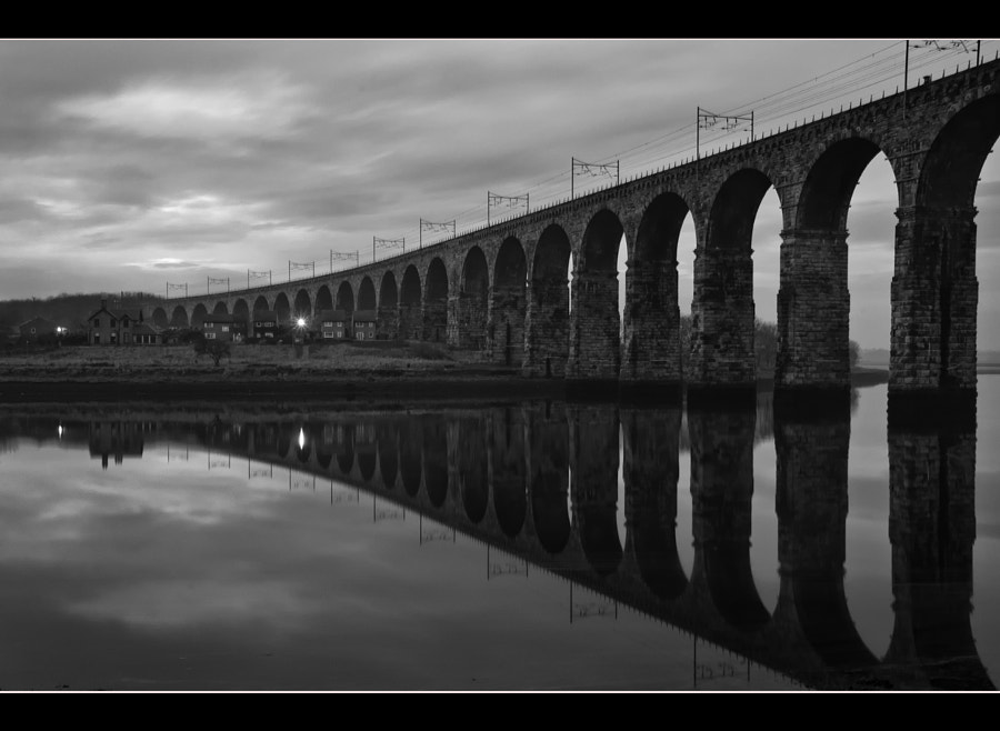 Dusk shot of the Royal Border Bridge over the Tweed