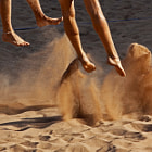 Постер, плакат: Beach Volleyball Sand Feet Jump