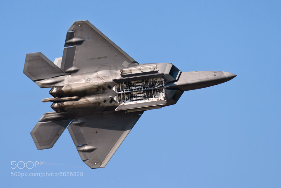 The mighty Raptor shows off its weapons bay over Dobbins ARB